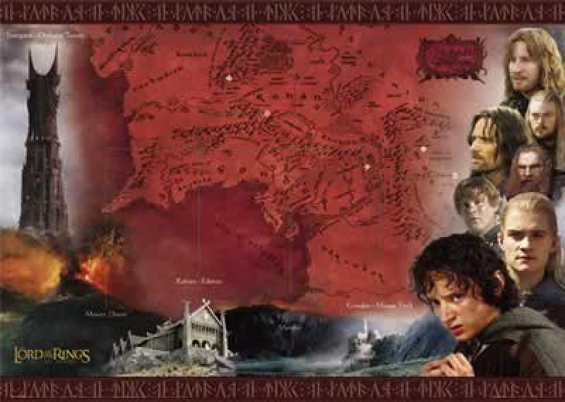 Herr der Ringe - Film-Poster - Red Map